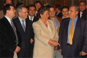 En la imagen: Arsenio Escolar, Director de '20Minutos'; Miguel de Haro, Presidente de la AEEPP; Rita Barberá, Alcaldesa de Valencia y Bernardo J. Moragues, Presidente de Intergrup