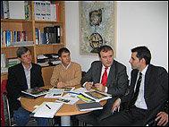 """José Paniagua - Junta Directiva de la """"ASVP"""", Jesús González  - Pte de la  Asociación , J.R González (Consulproyect) y V.M Yenes Barbero – Coordinador de Asociaciones de CONFAES"""