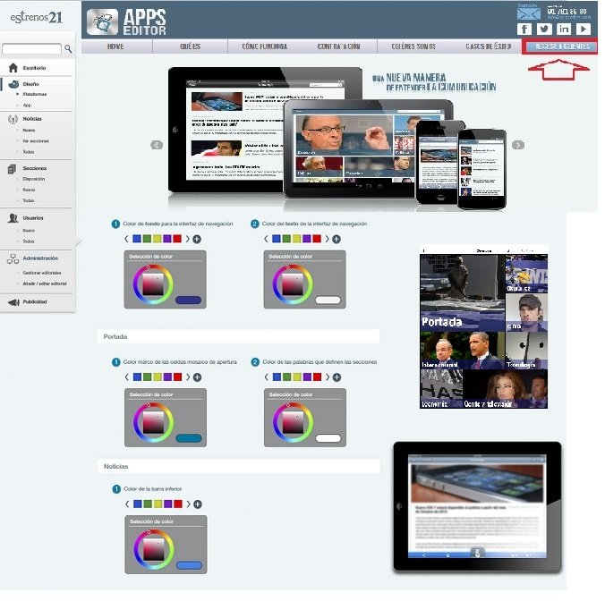 Sistema de configuración de la App, CMS y panel de acceso de AppsEditor