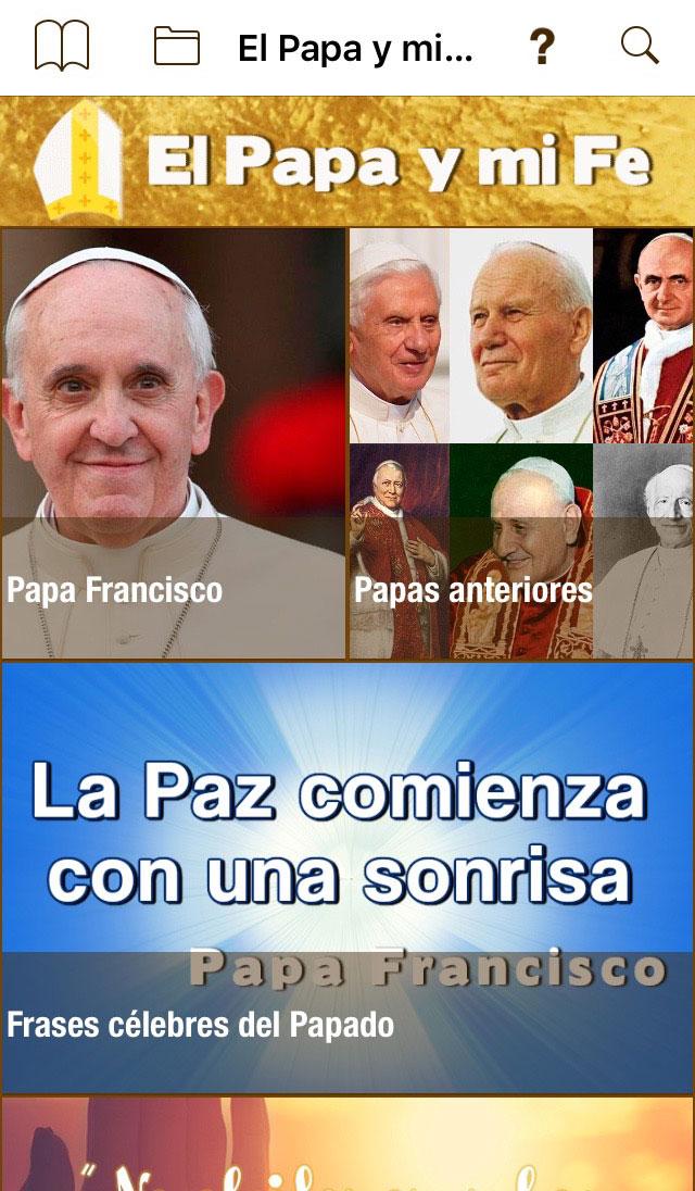 Imagen de apertura de la aplicación 'El Papa y Mi Fe' en un Iphone 6